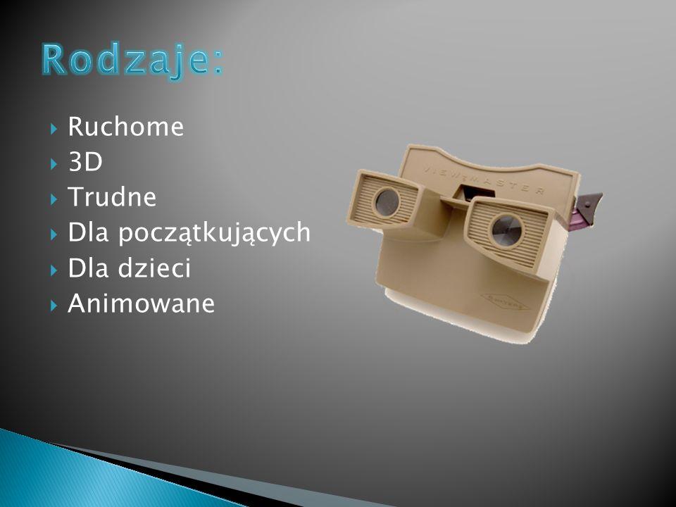 Rodzaje: Ruchome 3D Trudne Dla początkujących Dla dzieci Animowane