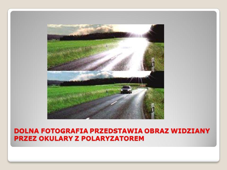 DOLNA FOTOGRAFIA PRZEDSTAWIA OBRAZ WIDZIANY PRZEZ OKULARY Z POLARYZATOREM