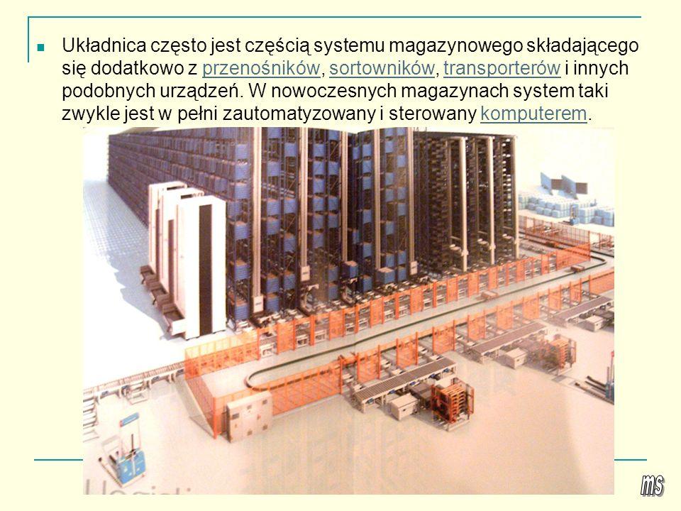 Układnica często jest częścią systemu magazynowego składającego się dodatkowo z przenośników, sortowników, transporterów i innych podobnych urządzeń. W nowoczesnych magazynach system taki zwykle jest w pełni zautomatyzowany i sterowany komputerem.