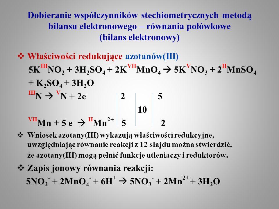 Właściwości redukujące azotanów(III)