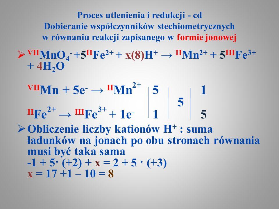 Proces utlenienia i redukcji - cd Dobieranie współczynników stechiometrycznych w równaniu reakcji zapisanego w formie jonowej