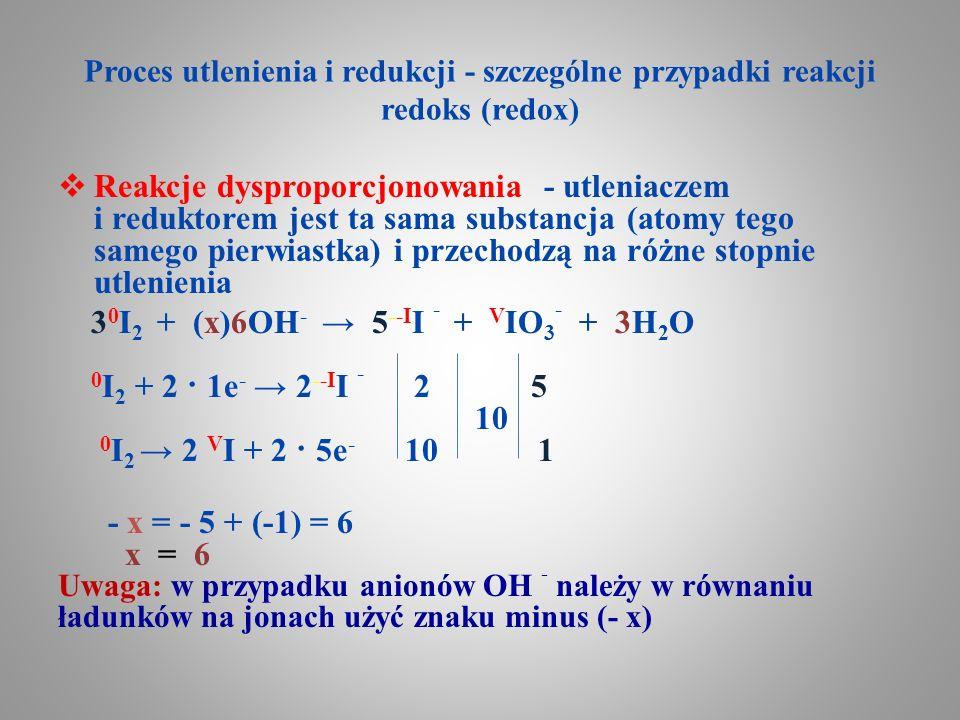 Proces utlenienia i redukcji - szczególne przypadki reakcji redoks (redox)
