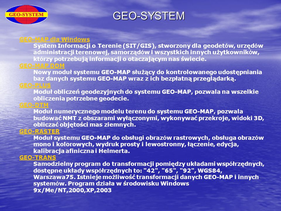 GEO-SYSTEM GEO-MAP dla Windows