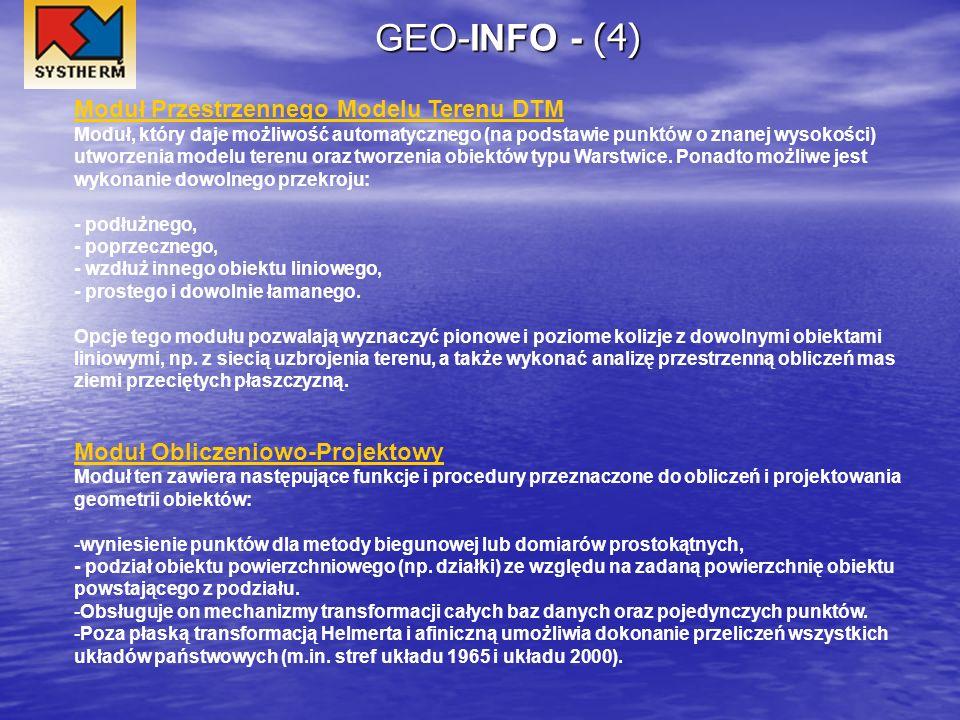 GEO-INFO - (4) Moduł Przestrzennego Modelu Terenu DTM