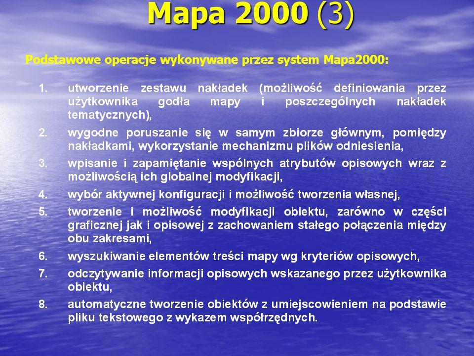 Mapa 2000 (3) Podstawowe operacje wykonywane przez system Mapa2000:
