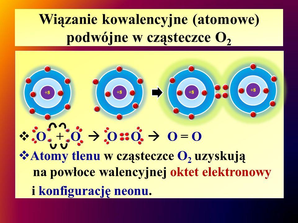 Wiązanie kowalencyjne (atomowe) podwójne w cząsteczce O2