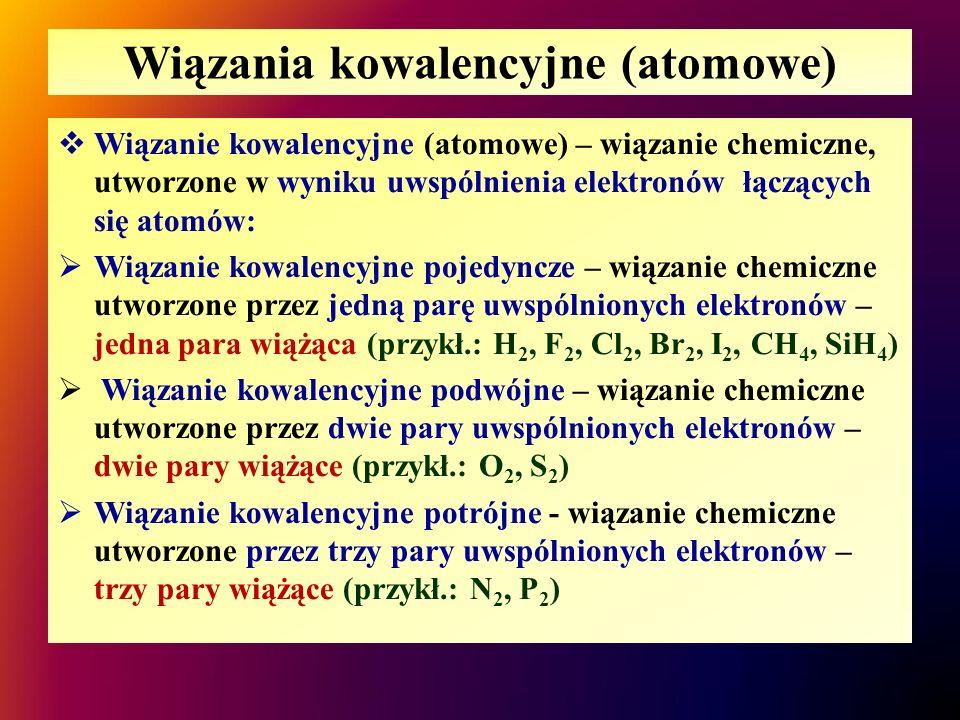 Wiązania kowalencyjne (atomowe)