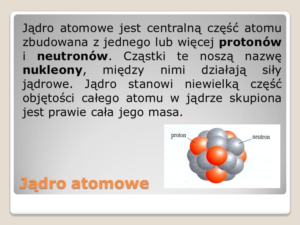 Jądro atomowe jest centralną część atomu zbudowana z jednego lub więcej protonów i neutronów. Cząstki te noszą nazwę nukleony, między nimi działają siły jądrowe. Jądro stanowi niewielką część objętości całego atomu w jądrze skupiona jest prawie cała jego masa.