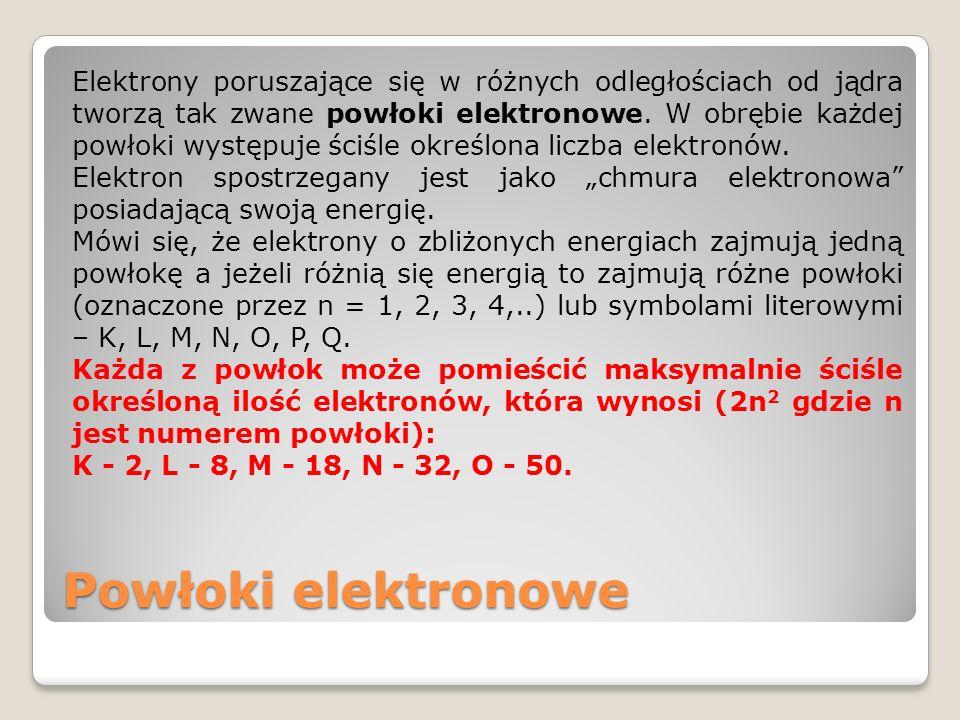 """Elektrony poruszające się w różnych odległościach od jądra tworzą tak zwane powłoki elektronowe. W obrębie każdej powłoki występuje ściśle określona liczba elektronów. Elektron spostrzegany jest jako """"chmura elektronowa posiadającą swoją energię. Mówi się, że elektrony o zbliżonych energiach zajmują jedną powłokę a jeżeli różnią się energią to zajmują różne powłoki (oznaczone przez n = 1, 2, 3, 4,..) lub symbolami literowymi – K, L, M, N, O, P, Q. Każda z powłok może pomieścić maksymalnie ściśle określoną ilość elektronów, która wynosi (2n2 gdzie n jest numerem powłoki): K - 2, L - 8, M - 18, N - 32, O - 50."""