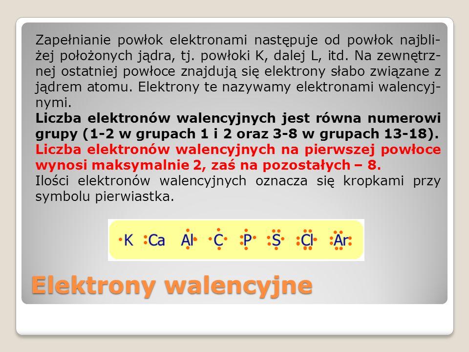 Zapełnianie powłok elektronami następuje od powłok najbli-żej położonych jądra, tj. powłoki K, dalej L, itd. Na zewnętrz-nej ostatniej powłoce znajdują się elektrony słabo związane z jądrem atomu. Elektrony te nazywamy elektronami walencyj-nymi. Liczba elektronów walencyjnych jest równa numerowi grupy (1-2 w grupach 1 i 2 oraz 3-8 w grupach 13-18). Liczba elektronów walencyjnych na pierwszej powłoce wynosi maksymalnie 2, zaś na pozostałych – 8. Ilości elektronów walencyjnych oznacza się kropkami przy symbolu pierwiastka.