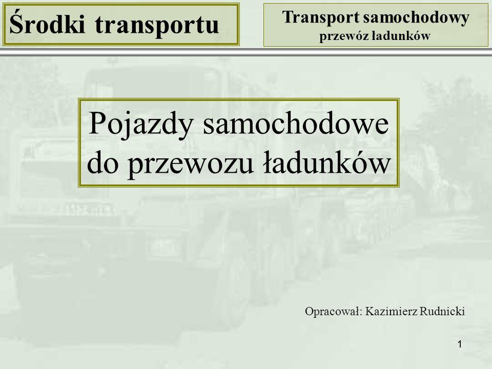 Pojazdy samochodowe do przewozu ładunków Środki transportu