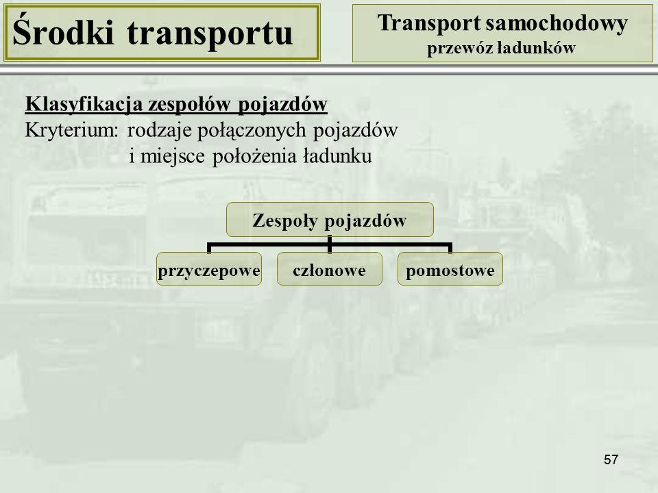 Środki transportu Transport samochodowy Klasyfikacja zespołów pojazdów