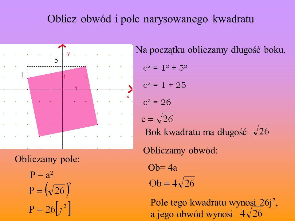 Oblicz obwód i pole narysowanego kwadratu