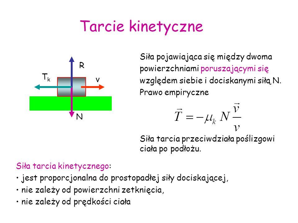 Tarcie kinetyczne Siła pojawiająca się między dwoma powierzchniami poruszającymi się względem siebie i dociskanymi siłą N. Prawo empiryczne.