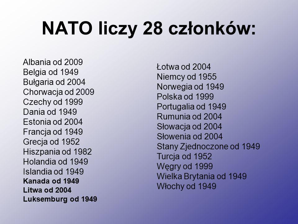 NATO liczy 28 członków: Albania od 2009 Belgia od 1949 Łotwa od 2004