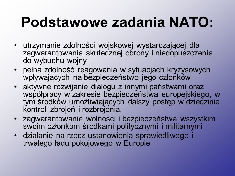 Podstawowe zadania NATO:
