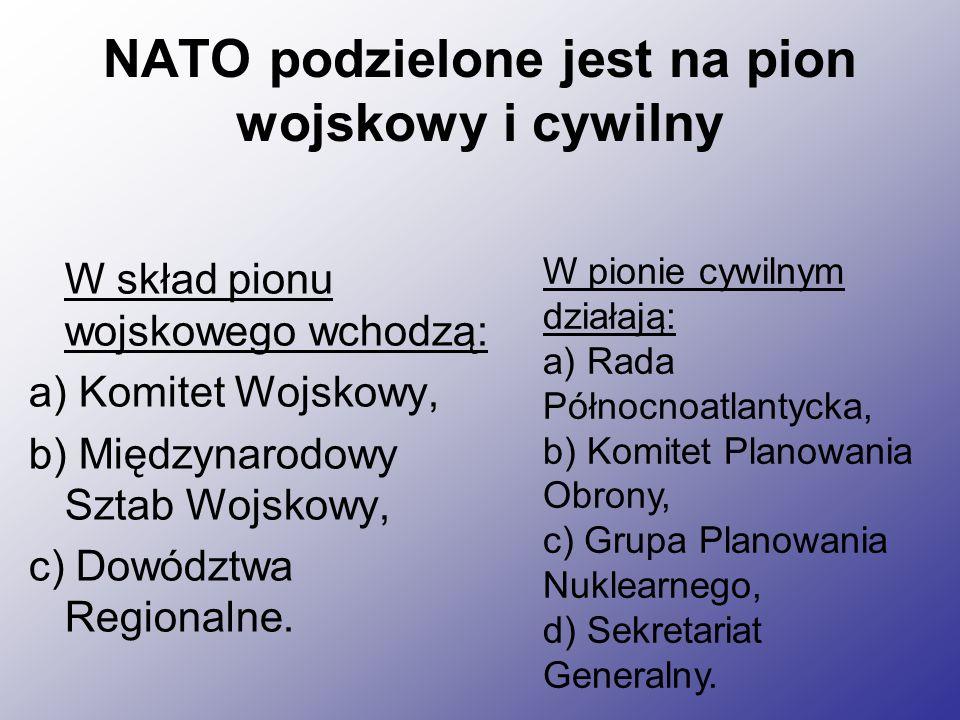 NATO podzielone jest na pion wojskowy i cywilny