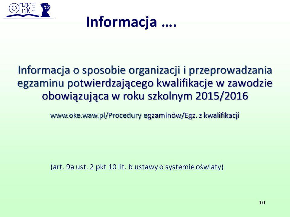 Informacja ….