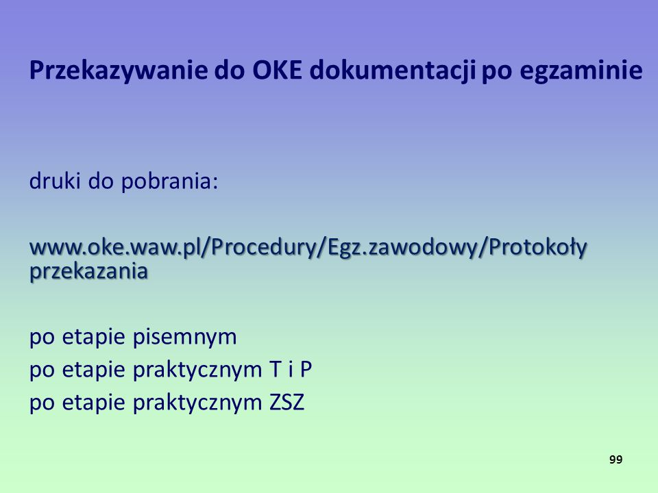 Przekazywanie do OKE dokumentacji po egzaminie
