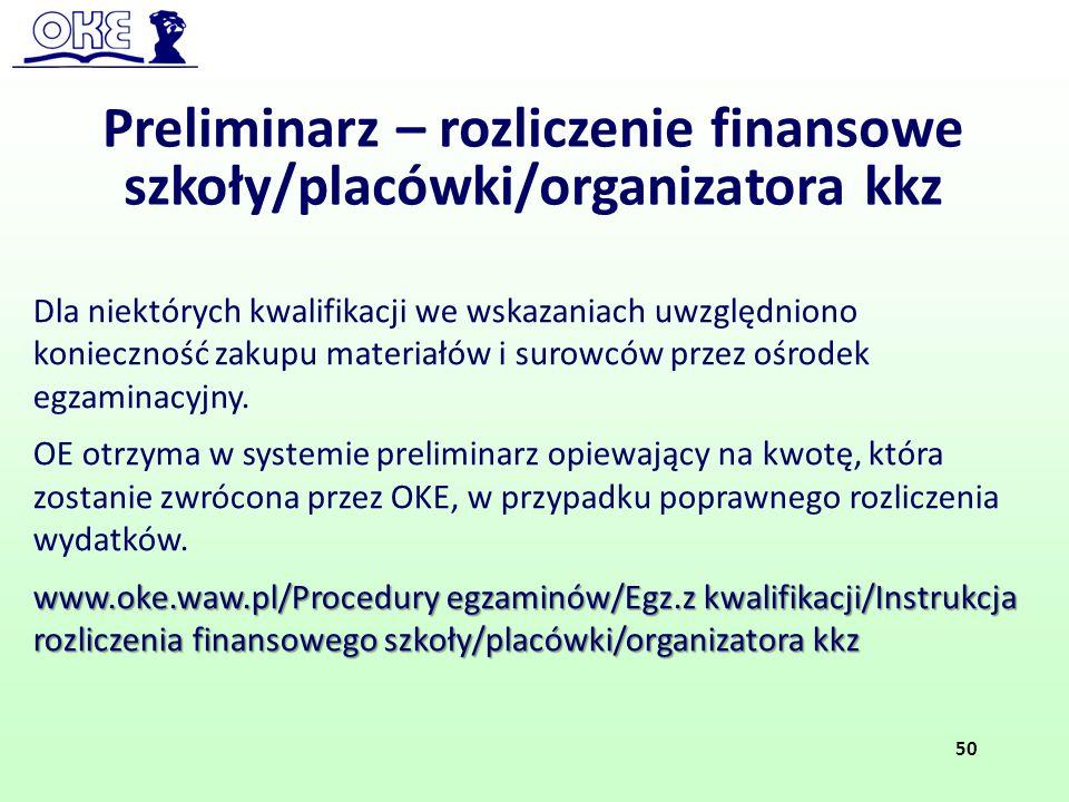 Preliminarz – rozliczenie finansowe szkoły/placówki/organizatora kkz