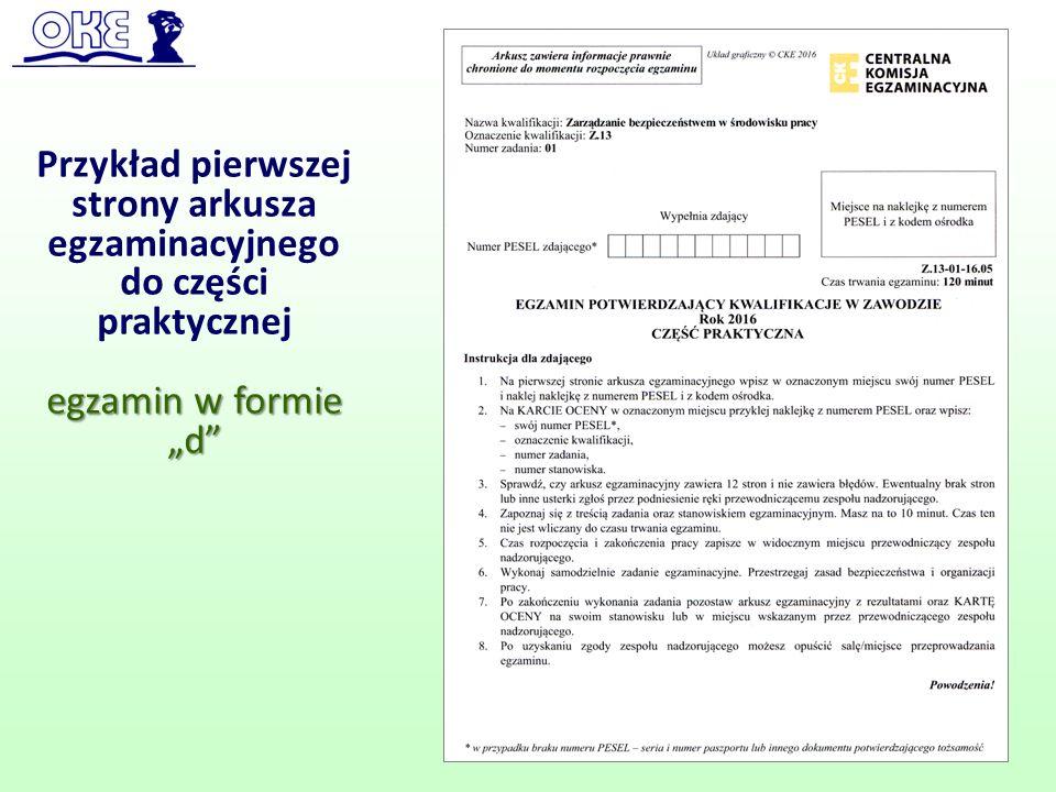 Przykład pierwszej strony arkusza egzaminacyjnego