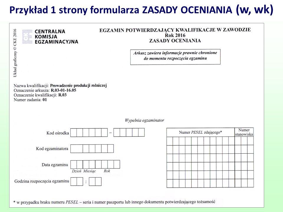Przykład 1 strony formularza ZASADY OCENIANIA (w, wk)