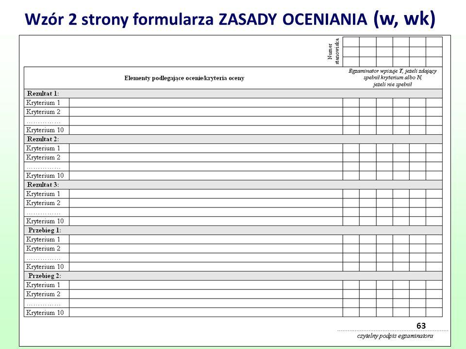 Wzór 2 strony formularza ZASADY OCENIANIA (w, wk)