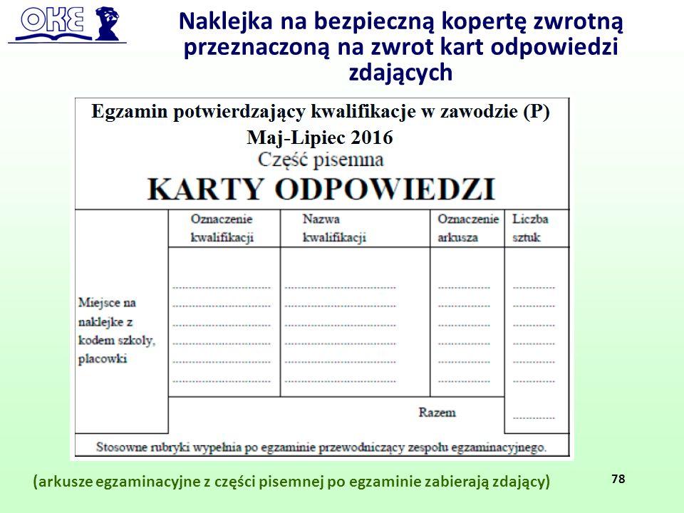 Naklejka na bezpieczną kopertę zwrotną przeznaczoną na zwrot kart odpowiedzi zdających
