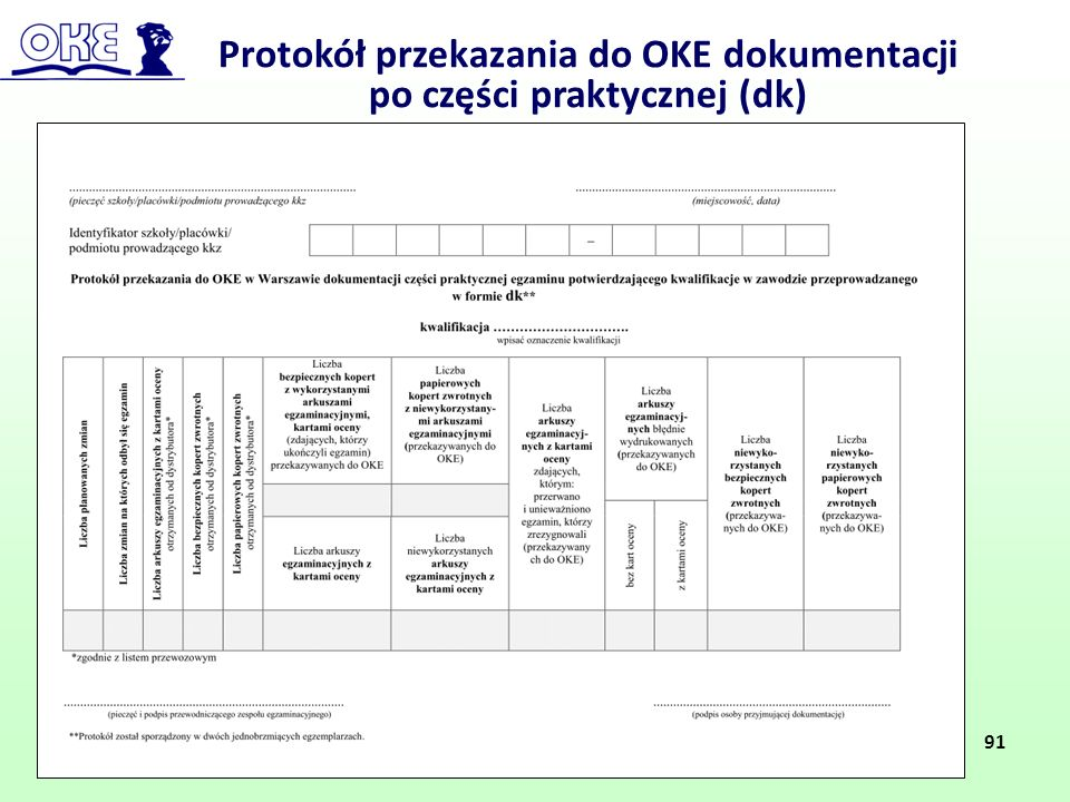 Protokół przekazania do OKE dokumentacji po części praktycznej (dk)