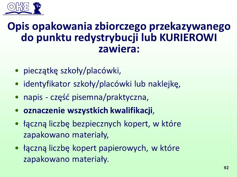 Opis opakowania zbiorczego przekazywanego do punktu redystrybucji lub KURIEROWI zawiera: