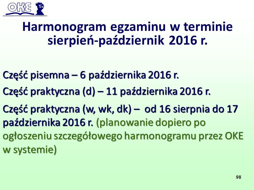 Harmonogram egzaminu w terminie sierpień-październik 2016 r.