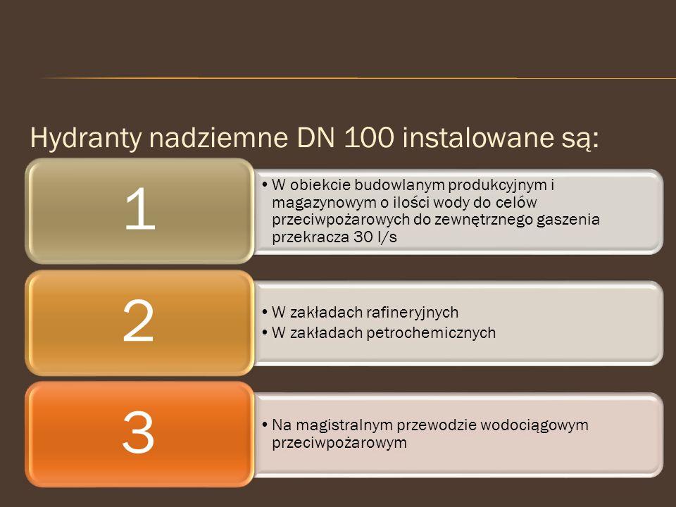 1 2 3 Hydranty nadziemne DN 100 instalowane są: