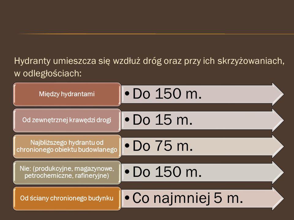 Do 150 m. Do 15 m. Do 75 m. Co najmniej 5 m.