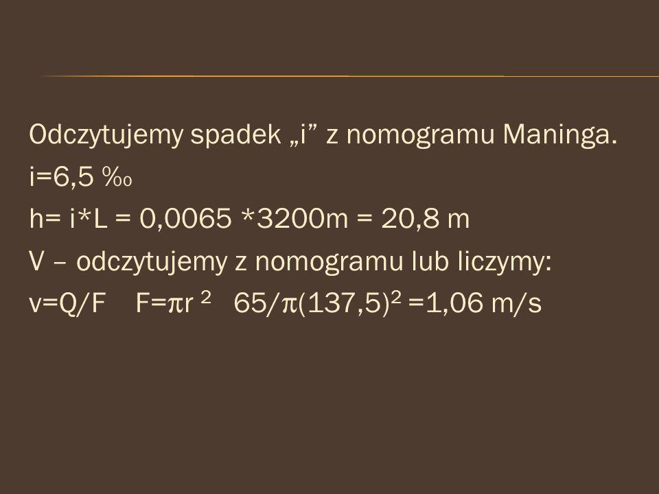 """Odczytujemy spadek """"i z nomogramu Maninga. i=6,5 ‰ h= i. L = 0,0065"""