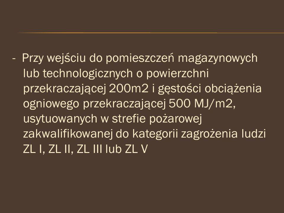 - Przy wejściu do pomieszczeń magazynowych lub technologicznych o powierzchni przekraczającej 200m2 i gęstości obciążenia ogniowego przekraczającej 500 MJ/m2, usytuowanych w strefie pożarowej zakwalifikowanej do kategorii zagrożenia ludzi ZL I, ZL II, ZL III lub ZL V