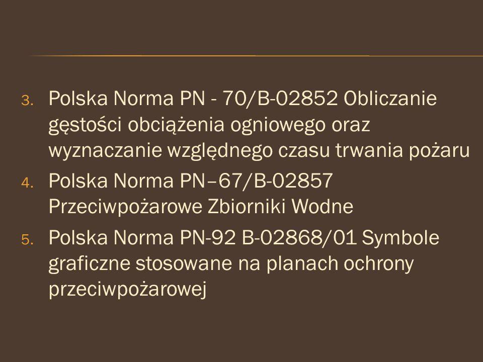 Polska Norma PN - 70/B-02852 Obliczanie gęstości obciążenia ogniowego oraz wyznaczanie względnego czasu trwania pożaru