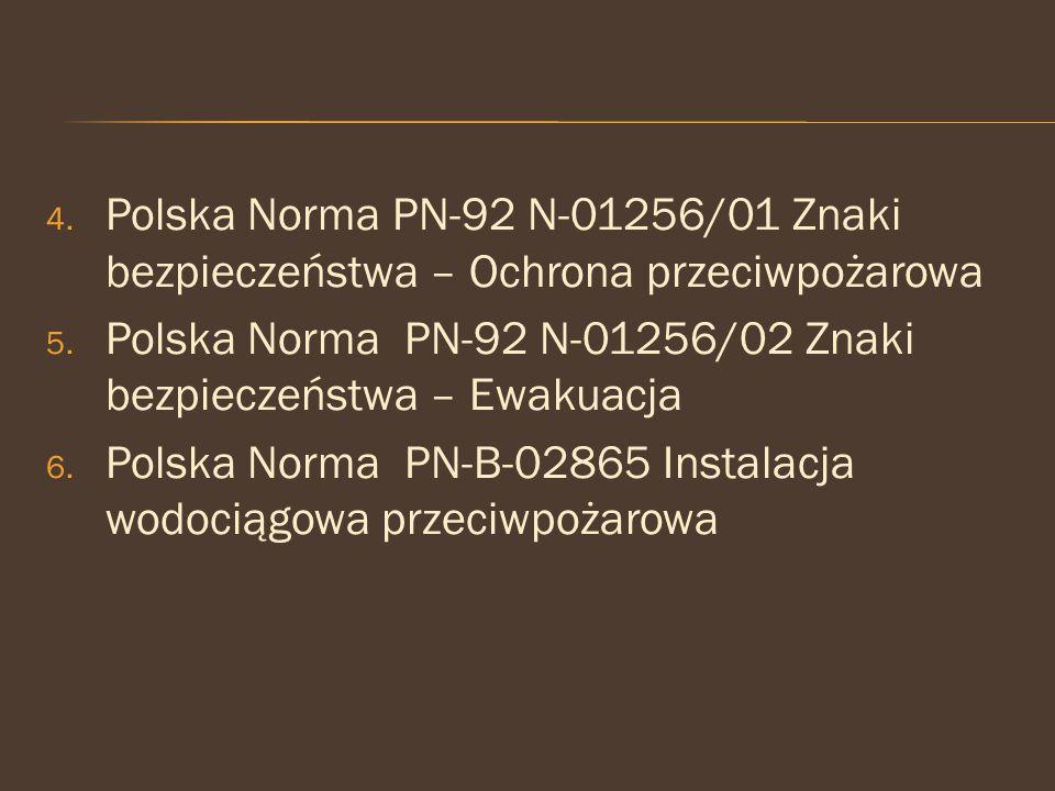 Polska Norma PN-92 N-01256/01 Znaki bezpieczeństwa – Ochrona przeciwpożarowa