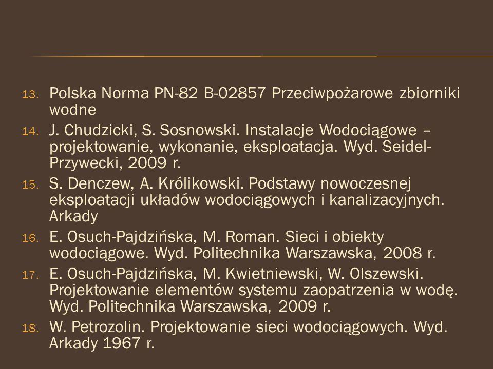 Polska Norma PN-82 B-02857 Przeciwpożarowe zbiorniki wodne