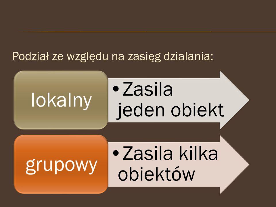 lokalny grupowy Zasila jeden obiekt Zasila kilka obiektów