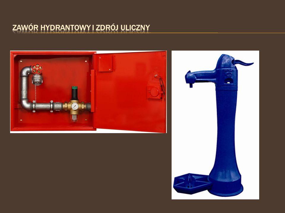 Zawór hydrantowy i zdrój uliczny