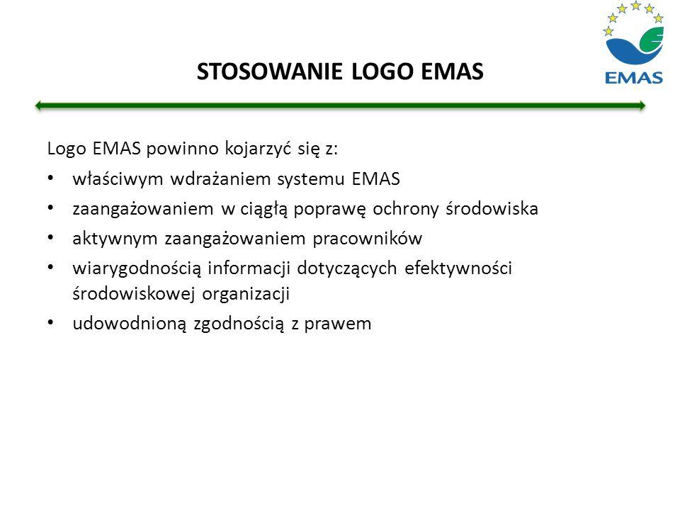 STOSOWANIE LOGO EMAS Logo EMAS powinno kojarzyć się z: