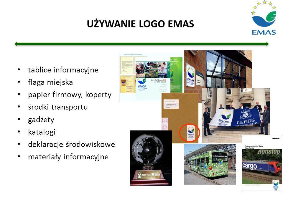 UŻYWANIE LOGO EMAS tablice informacyjne flaga miejska