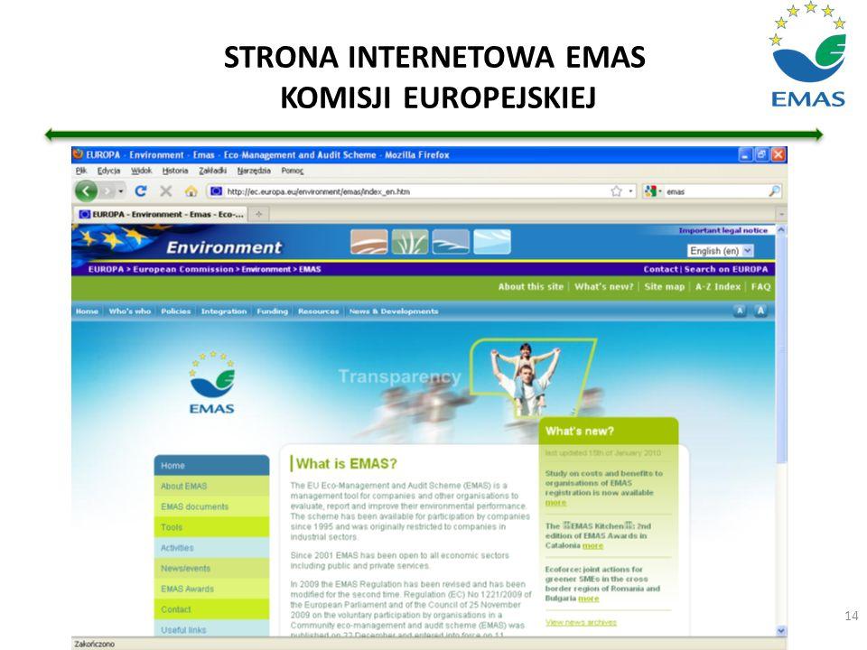 STRONA INTERNETOWA EMAS KOMISJI EUROPEJSKIEJ
