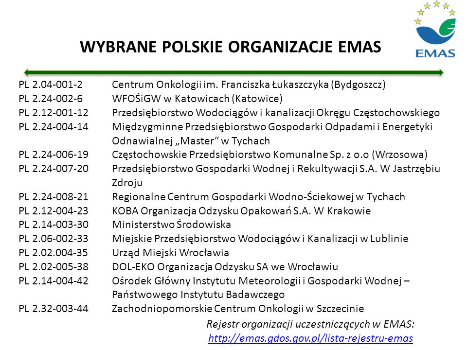 Rejestr organizacji uczestniczących w EMAS: