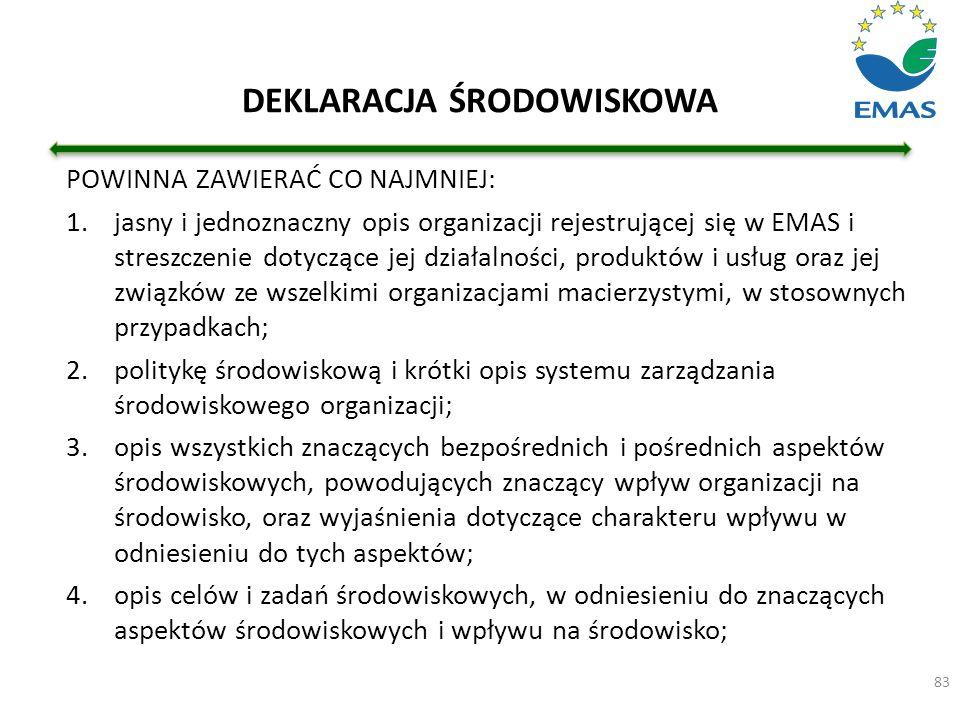 DEKLARACJA ŚRODOWISKOWA