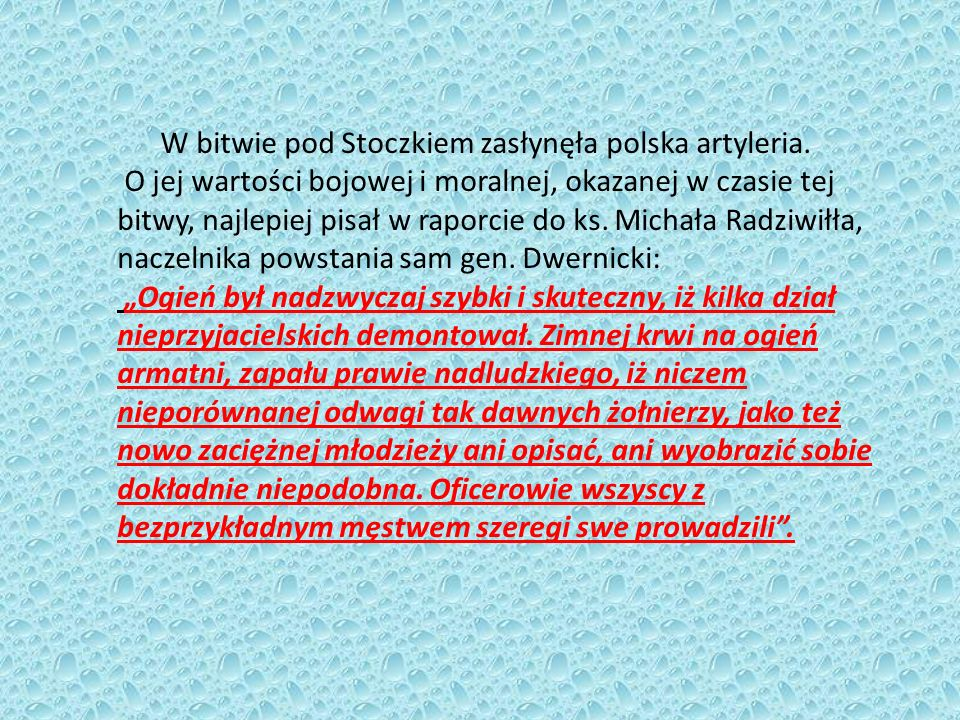 W bitwie pod Stoczkiem zasłynęła polska artyleria.
