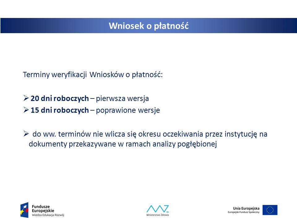 Wniosek o płatność Terminy weryfikacji Wniosków o płatność: