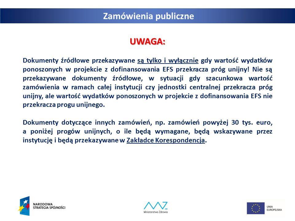 Zamówienia publiczne UWAGA:
