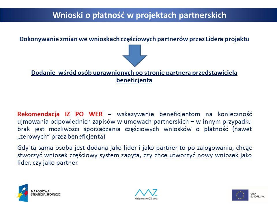 Wnioski o płatność w projektach partnerskich