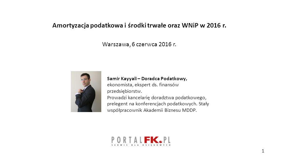 Amortyzacja podatkowa i środki trwałe oraz WNiP w 2016 r.